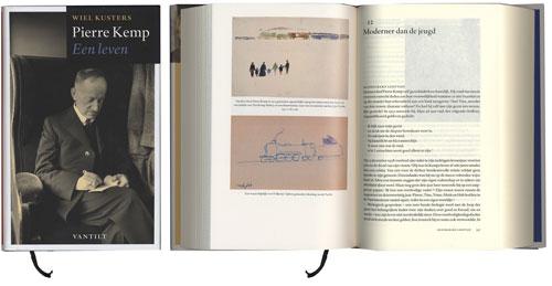 Pierre Kemp. Een leven. Stofomslag: Tom & Otto, gesatineerd MC (135 g/m2) Binnenwerk tekst: Oria Offset (80 g/m2) Binnenwerk beeld: Biocoat Silk, (100 g/m2)