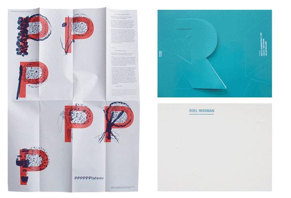 Vouwvel, Elementa 60 gr/m2 dundruk (PPPPPlateau, Sophie Krier). Rechts: Zelfklevend, tweezijdig bedrukt. Fasson High Gloss white Postcard zonder split 283 gr/m2 (Studio Roel Huisman)