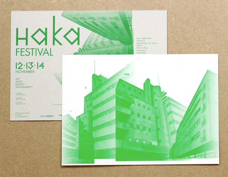 flyer HAKA festival, Maatschappij voor Volksgeluk, 2011 300 g Venoplex, 297 mm x 210 mm