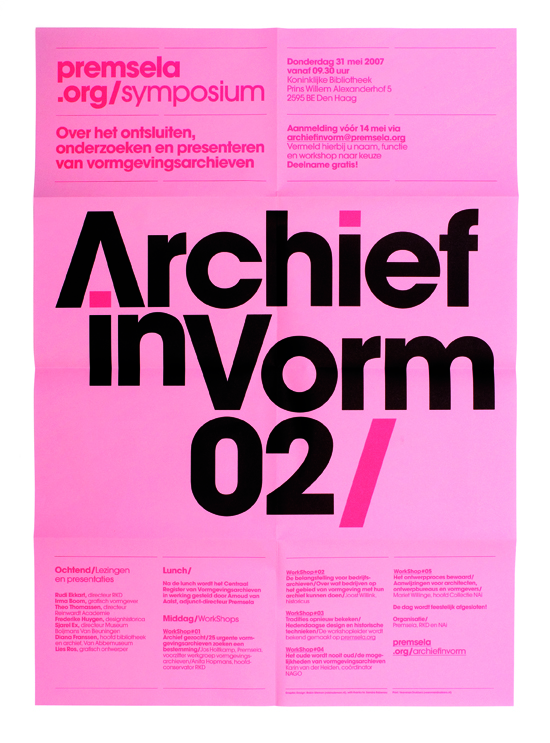 Archief in Vorm 02, Premsela, Dutch Platform for Design and Fashion. Rijnbank roze, 65 grs