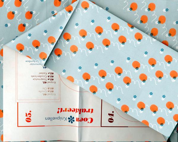Stofomslag, inpakpapier en patroonvel om het boek Coen trakteert op 60 grs Hi-Speed Opaque. Bij de Best Verzorgde Boeken 2012