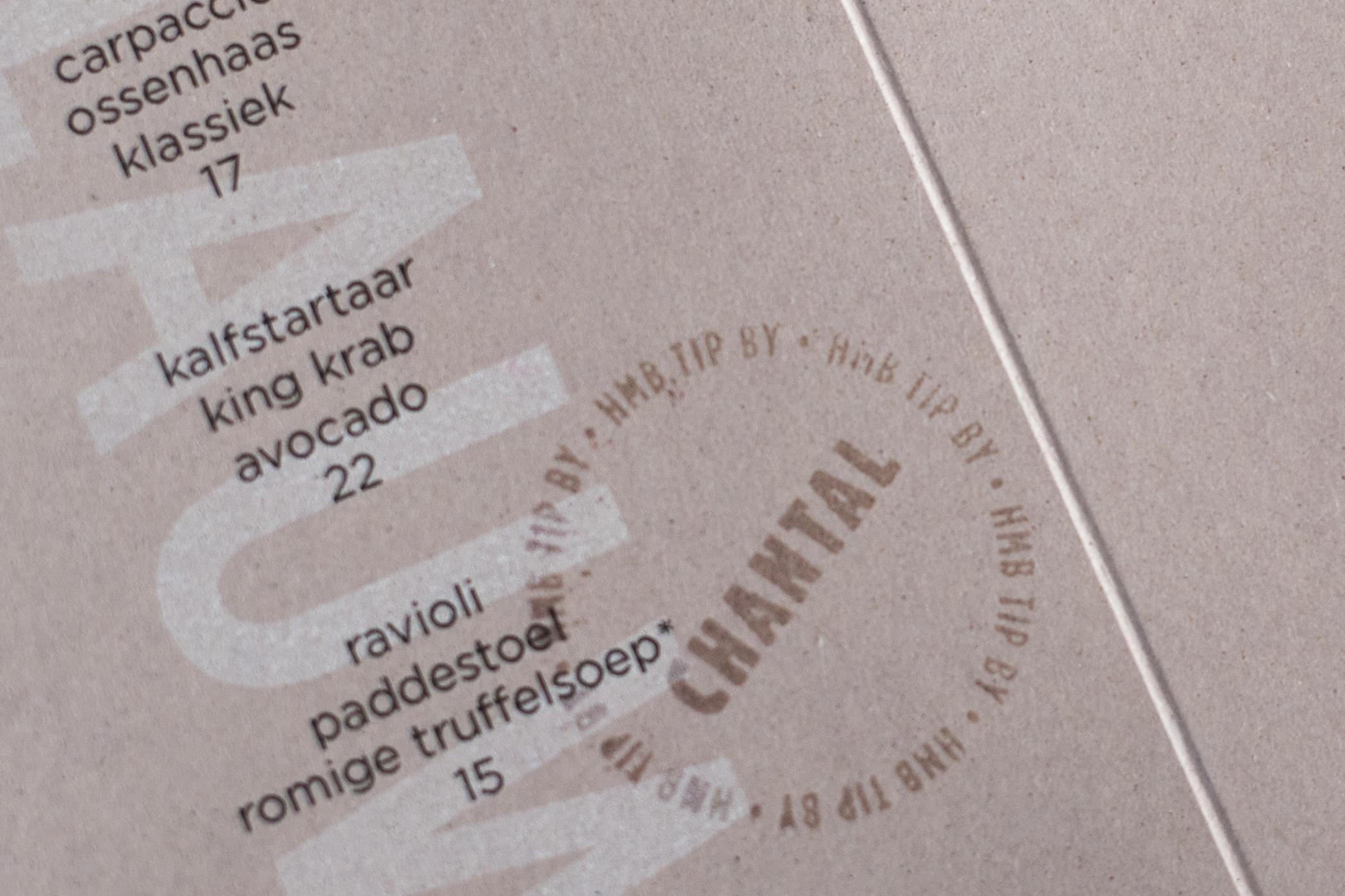 De menukaart van het restaurant HMB, ontwerp door Ilse van Klei en Bas Rellum