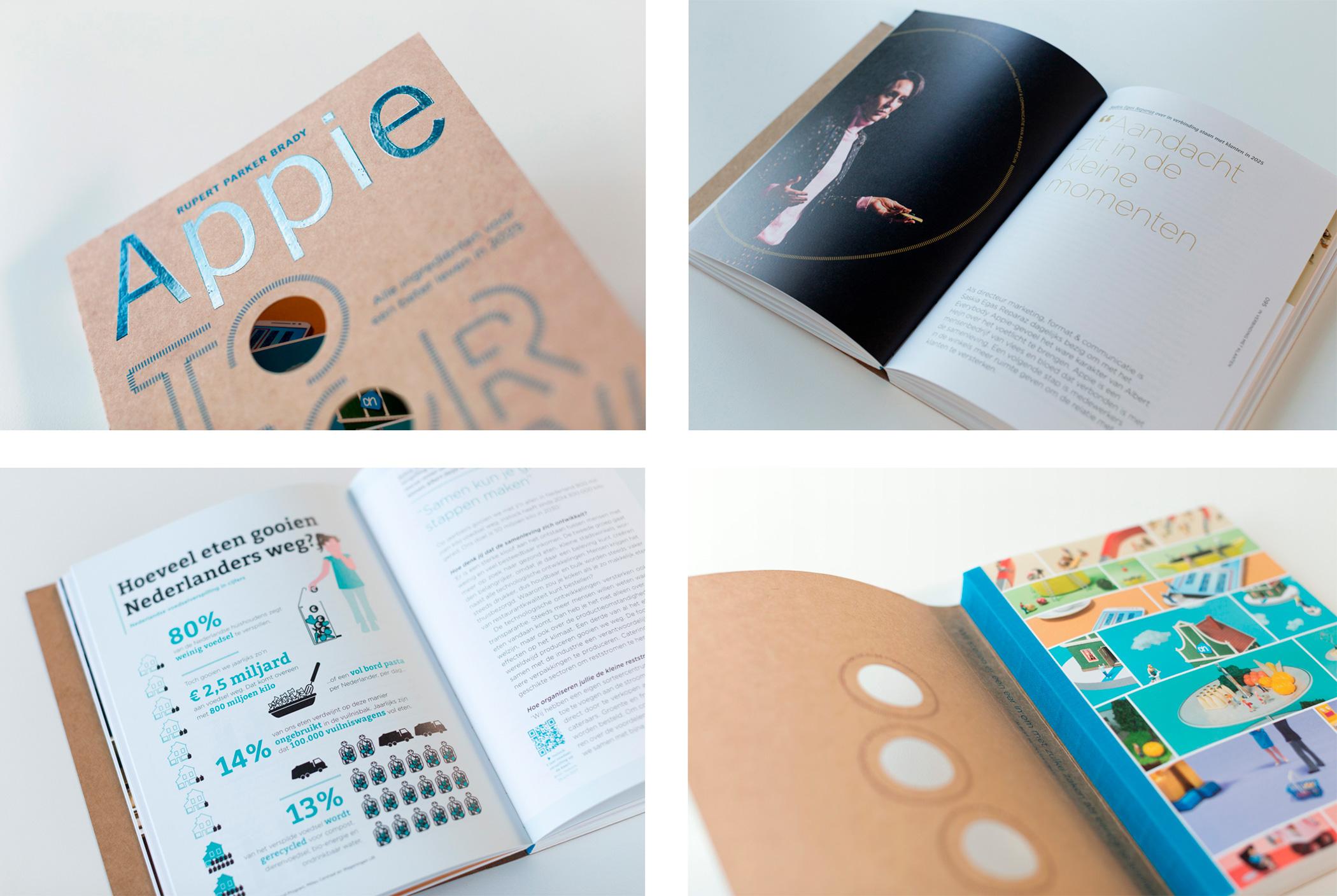 Spreads uit het boek Appie Tomorrow , ontwerp door Rianne Petter