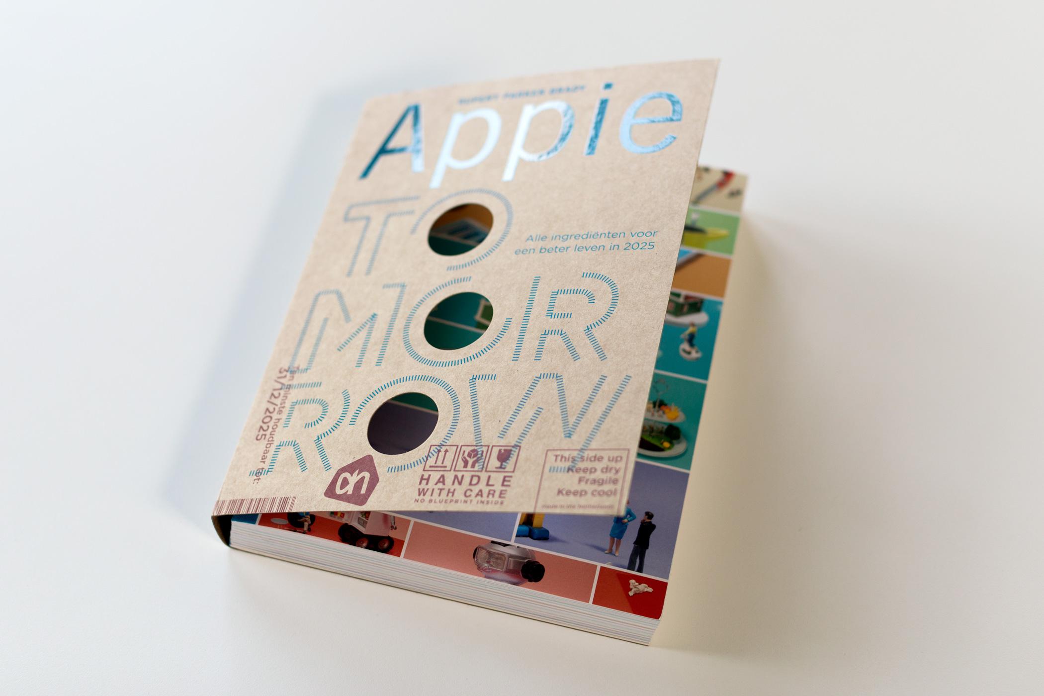 Voorkant van het boek Appie Tomorrow, ontwerp door Rianne Petter