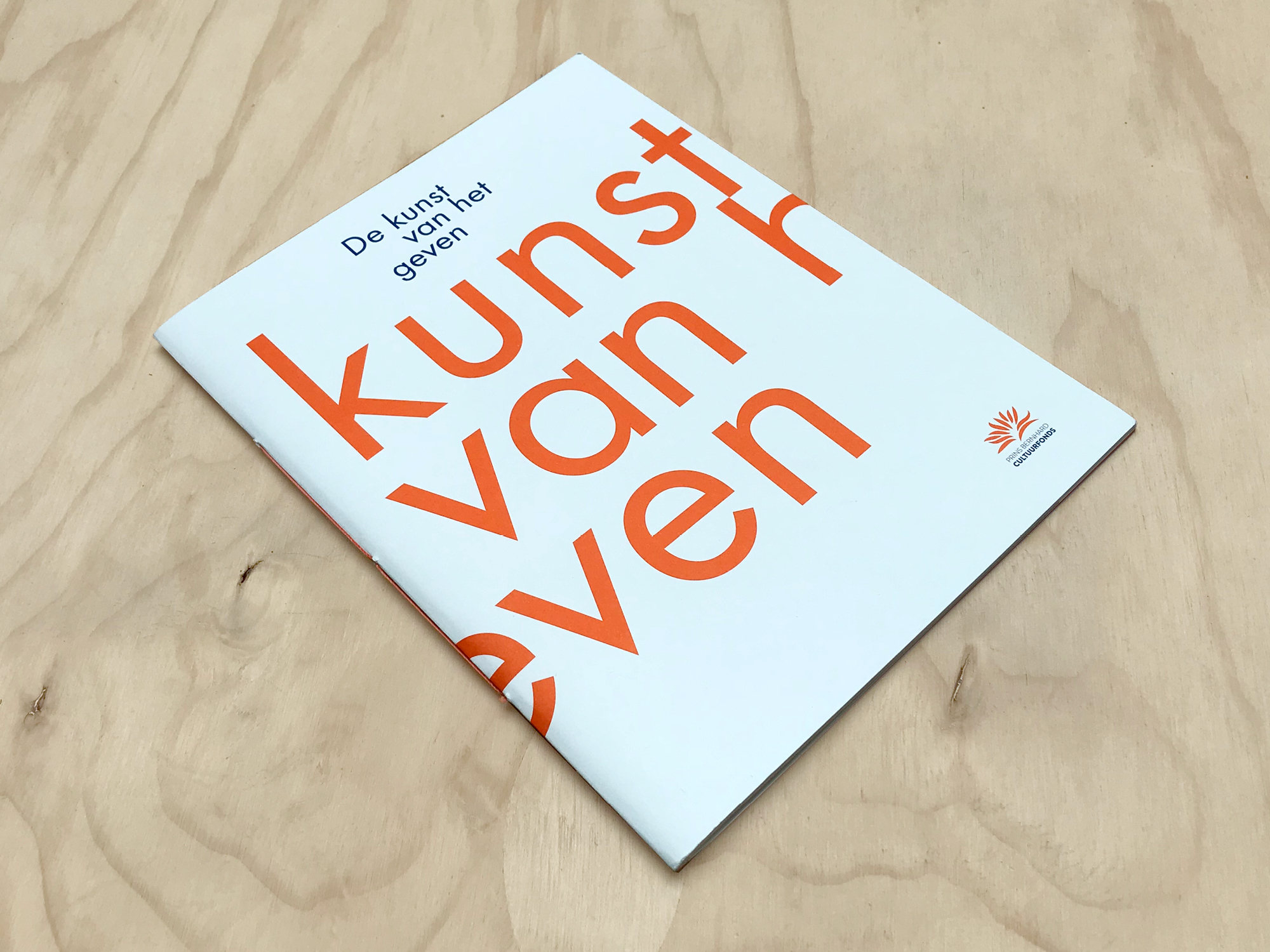 Brochure Prins Bernard Cultuurfonds | Papier: Munken Kristall.  Ontwerp door Ruben Doornweerd