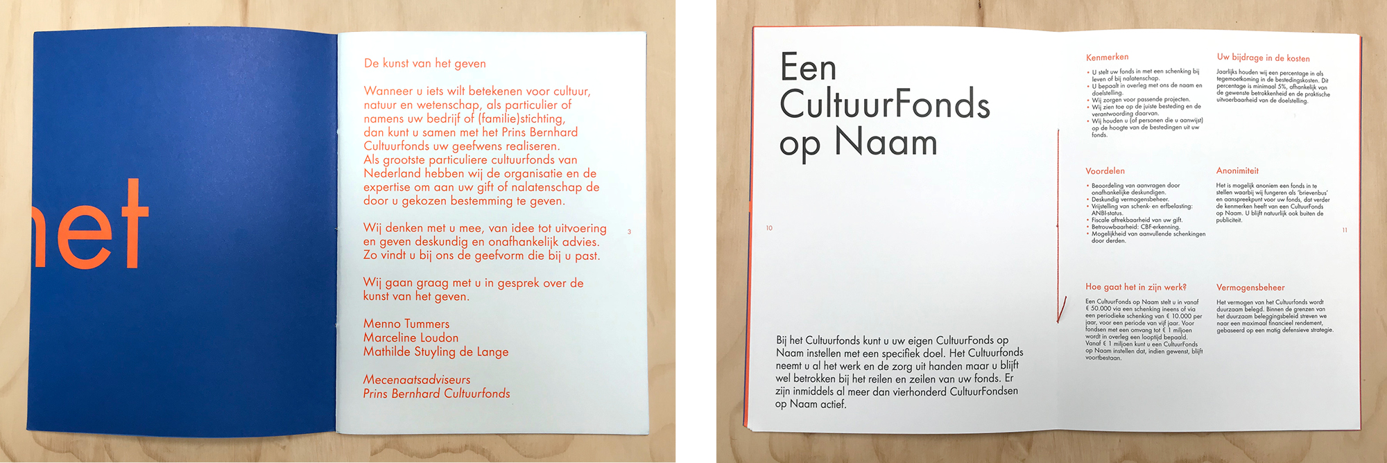 Brochure Prins Bernard Cultuurfonds | Papier: Munken Kristal. Ontwerp Ruben Doornweerd