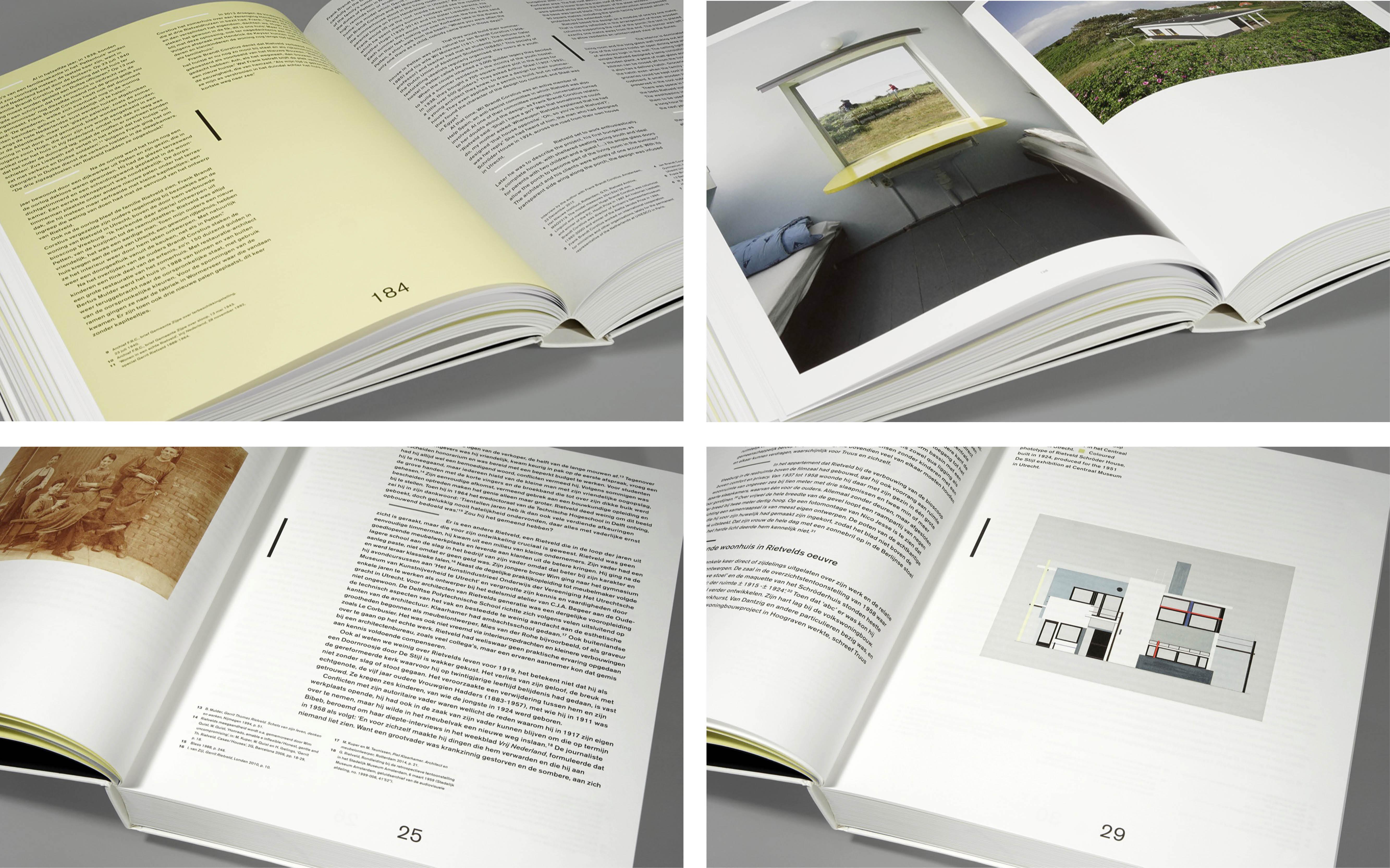 Vier foto's die spreads tonen van het boek Gerrit Rietveld, ontwerp door Beukers Scholma. De Monsterkamer interview