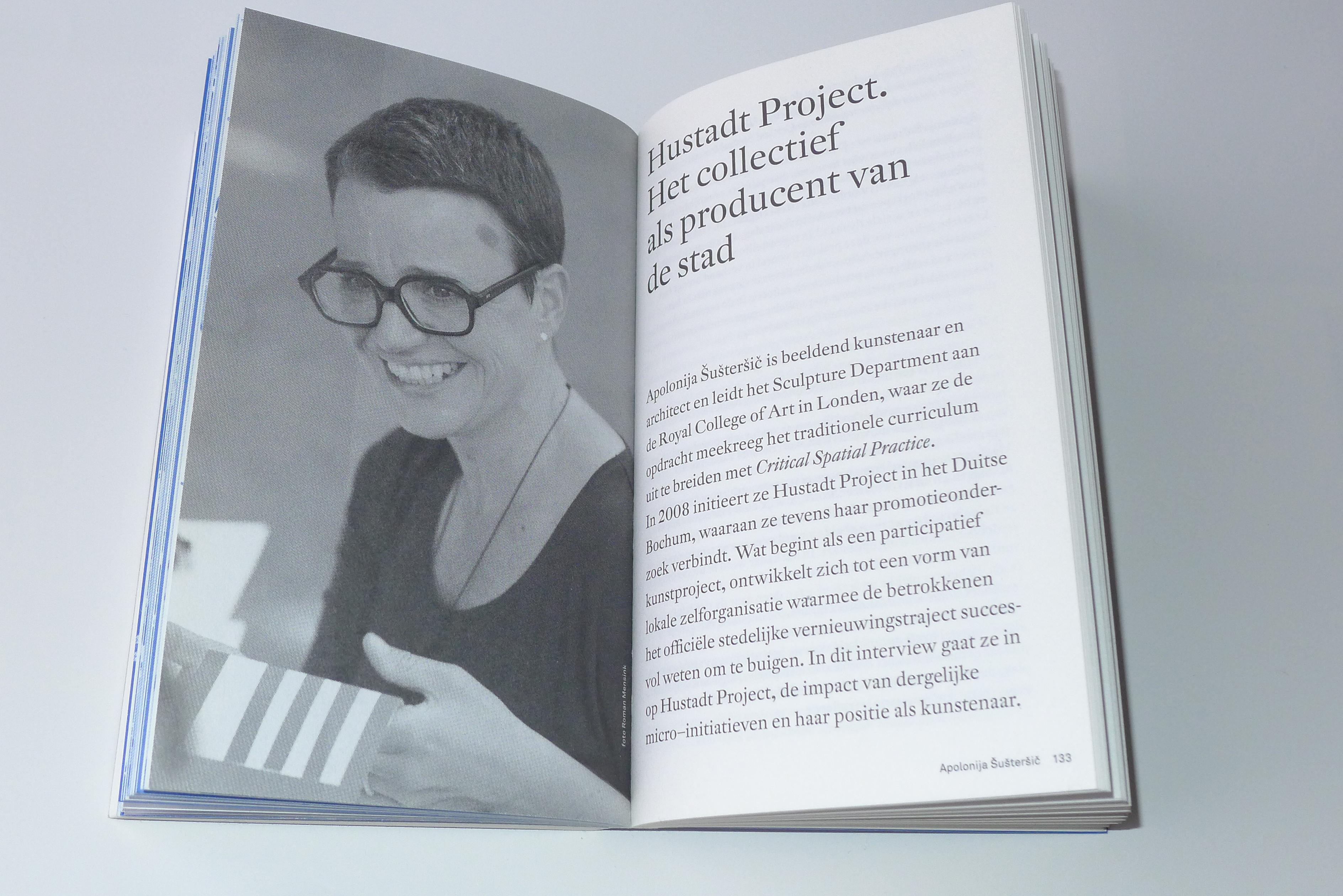 Twee pagina's uit het boek Stedelingen veranderen de stad door, Mariska van den Berg. Trancity x Valiz. Gabriele Götz. De Monsterkamer Interview.
