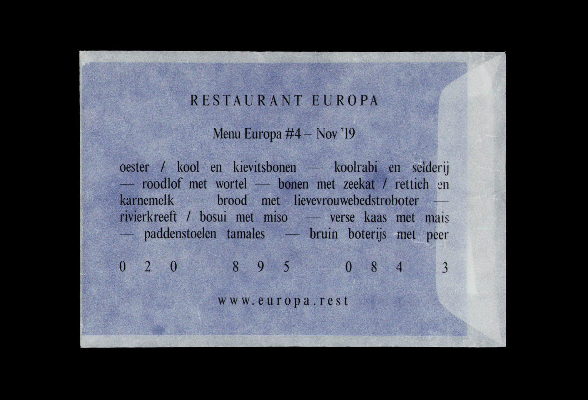 Menukaart Restaurant Europa / 2019 / ontworpen door Jan-Pieter Karper. De Monsterkamer interview.