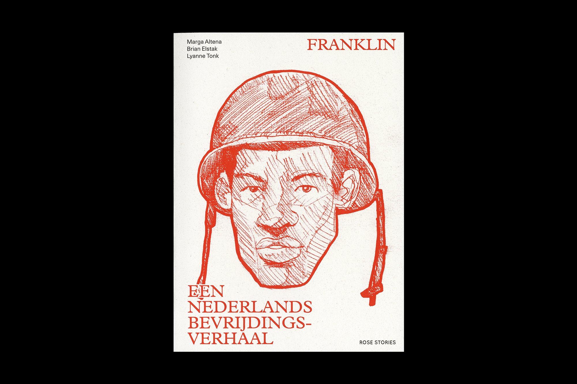 De voorkant van het boek Franklin. Een Nederlands bevrijdingsverhaal, ontwerp door Lyanne Tonk. De Monsterkamer Interview.