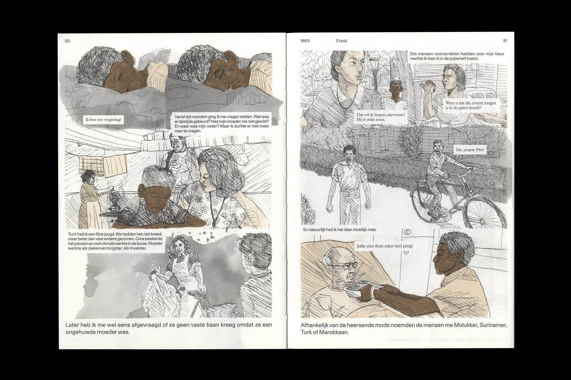 Een spread uit Franklin. Een Nederlands bevrijdingsverhaal, ontwerp door Lyanne Tonk. De Monsterkamer Interview