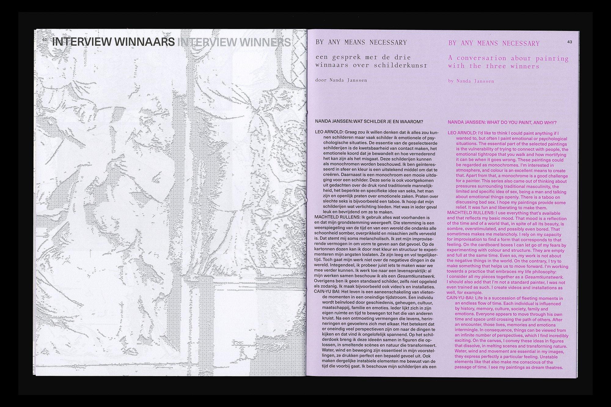 Een spread uit de Catalogus Koninklijke Prijs voor Vrije Schilderkunst 2019, ontwerp door Lyanne Tonk. De Monsterkamer Interview