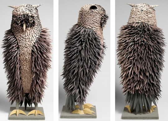The owl sculpture, also used as the book cover for Irving Harper Works in Paper