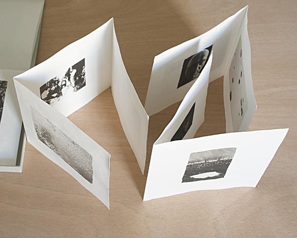 Papers and platinotypes in Daniele Cinciripini artist's book Vorrei tra le mie mani il tuo viso che è terra (come la terra)
